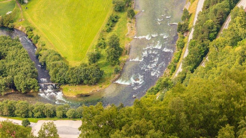 Aurland谷和河,挪威的看法 图库摄影