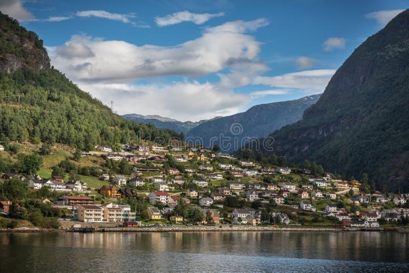 Aurland im Naeroyfjord von Norwegen stockfoto