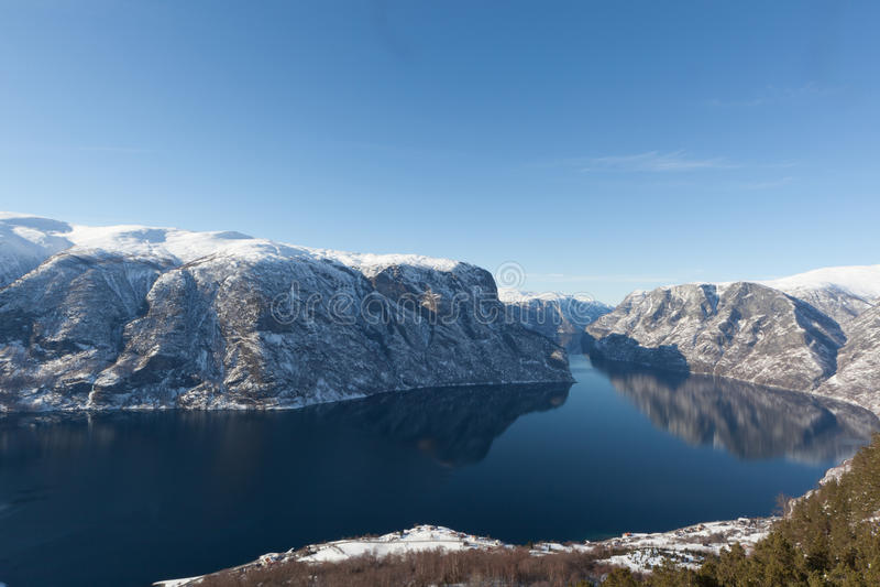 aurlandsfjord 免版税库存照片