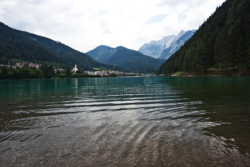 Auronzo,意大利湖  库存照片