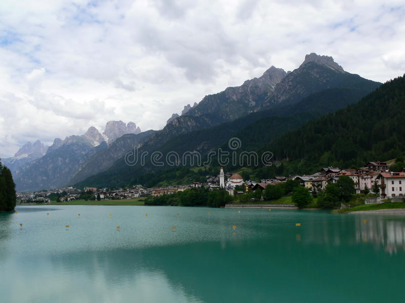 Auronzo di Cadore with lake stock images
