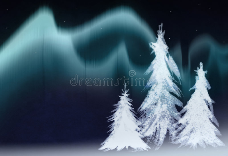 Aurora. Borealis and fir trees collage vector illustration