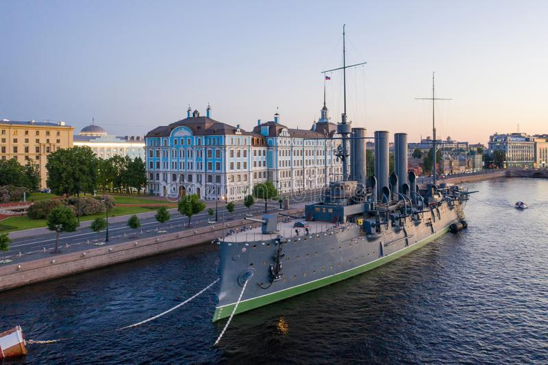 Aurora Avrora cruiser in Saint-Petersburg, Russia. Russian cruiser Aurora. Aurora museum ship in St. Petersburg royalty free stock photos