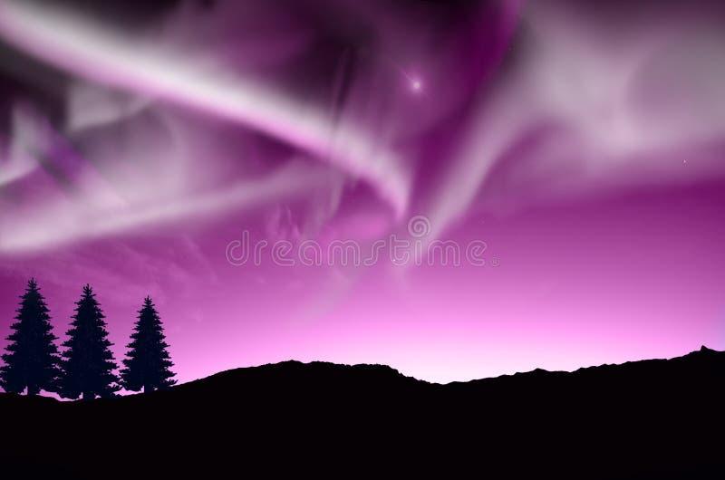 Aurora boreal, Aurora ilustração stock