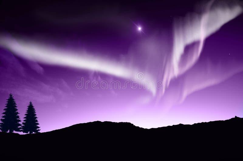 Aurora boreal, Aurora ilustração do vetor