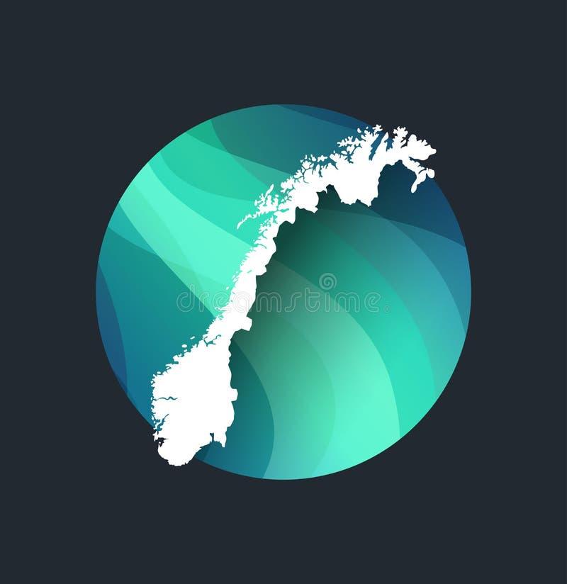 Aurora boreal e silhueta de Noruega ilustração stock