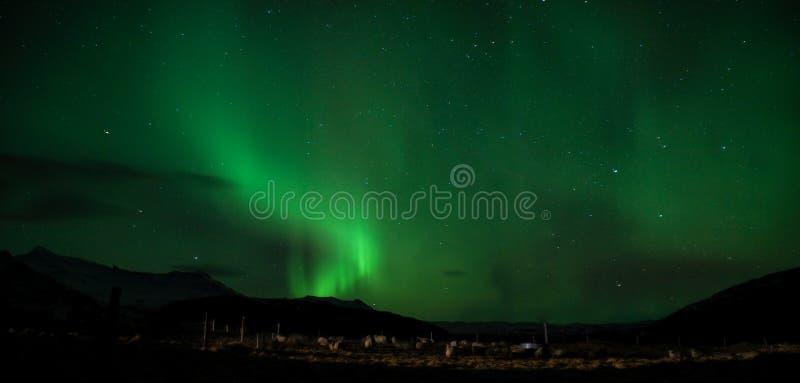 Aurora boreal em Islândia foto de stock