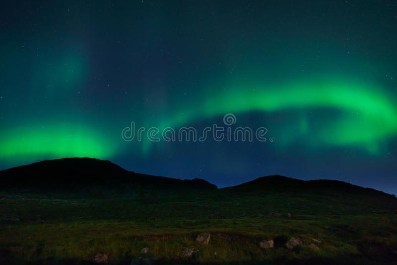 Aurora boreal em Lofoten, Noruega foto de stock
