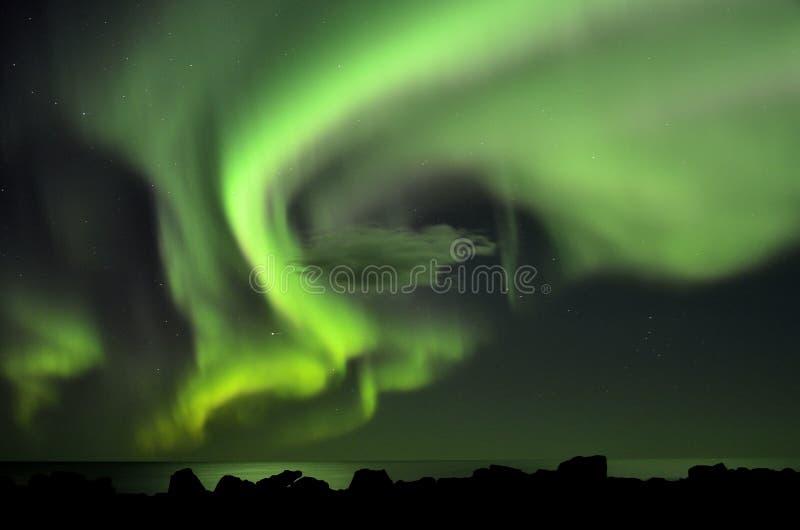 Aurora boreal en Islandia foto de archivo