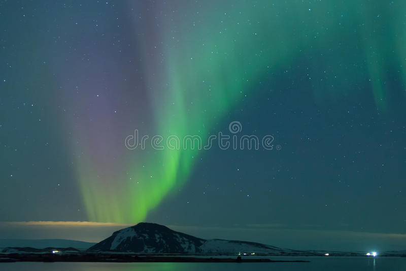 Aurora boreal en Myvatn fotos de archivo