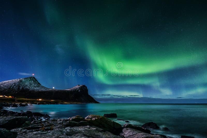 Aurora boreal en Noruega fotos de archivo