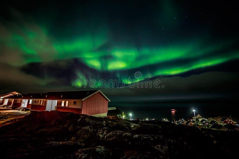 Aurora boreal Greenlandic fotos de stock royalty free