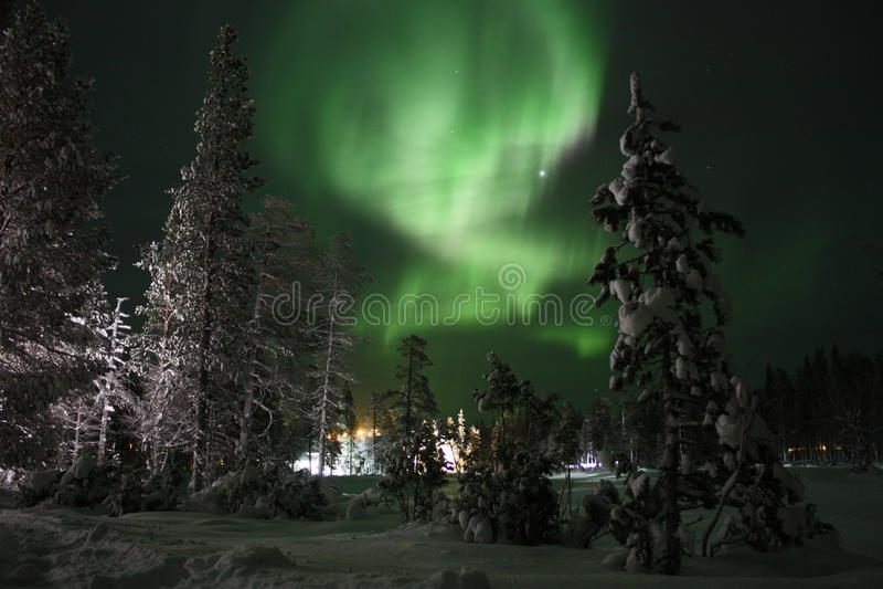 Aurora boreal, Lapland finlandês foto de stock