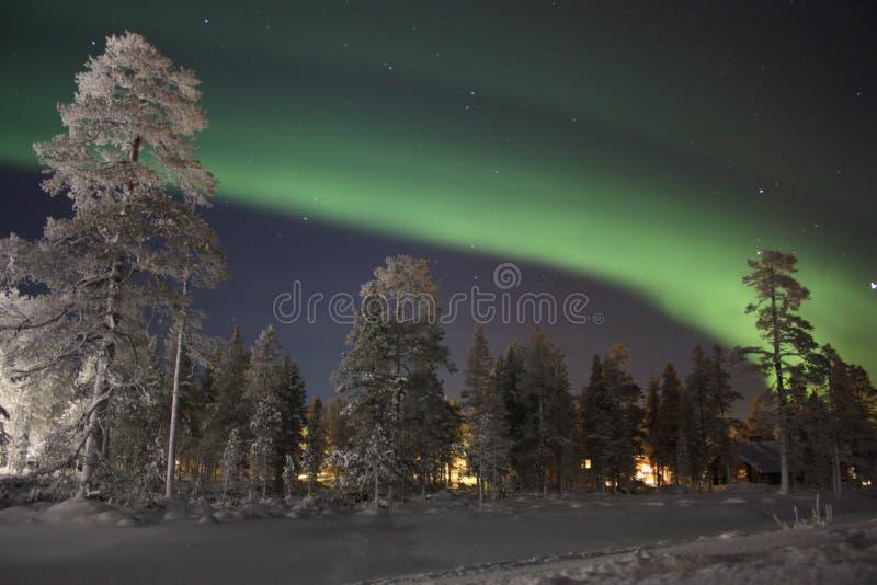 Aurora boreal, Lapland finlandês imagens de stock
