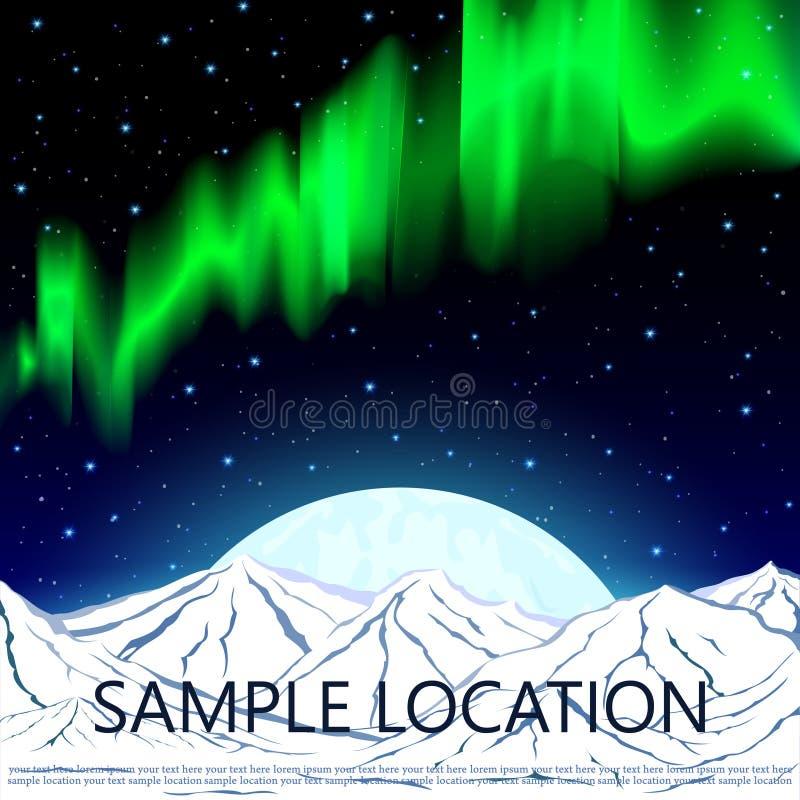 Aurora boreal, montanhas e a lua contra o fundo ilustração stock