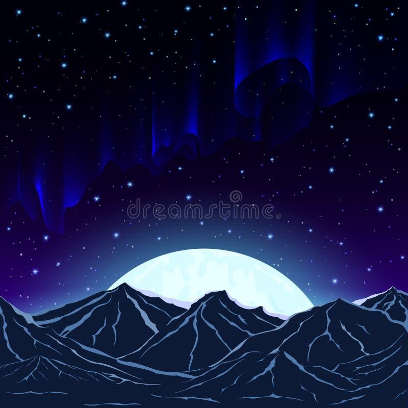 Aurora boreal, montanhas e a lua contra o fundo o ilustração royalty free