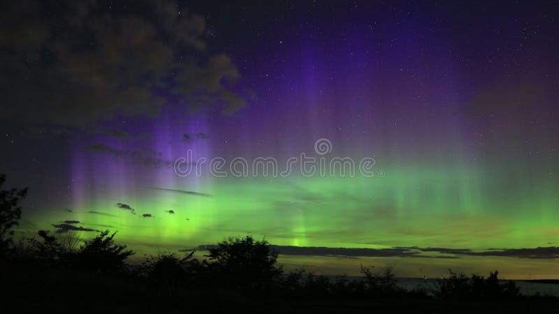 Aurora boreal no penhasco do risalu do ¼ de TÃ imagens de stock royalty free