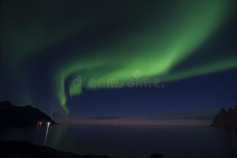 Aurora boreal o luces polares imagen de archivo libre de regalías
