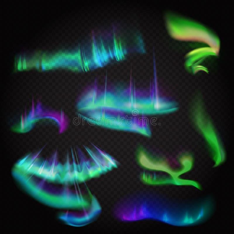 Aurora boreal realística do vetor ajustada Céu polar da noite surpreendente do aurora borealis no fundo stransparent alfa ilustração do vetor