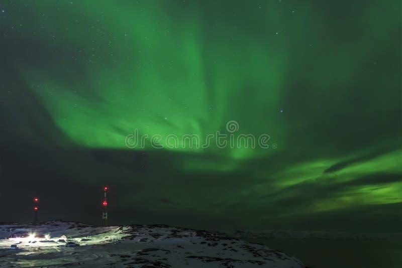 Aurora boreal, región de Murmansk, Rusia foto de archivo