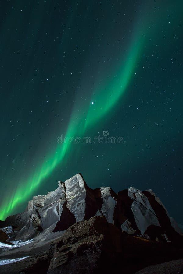Aurora boreal & Shooting Stars fotos de stock