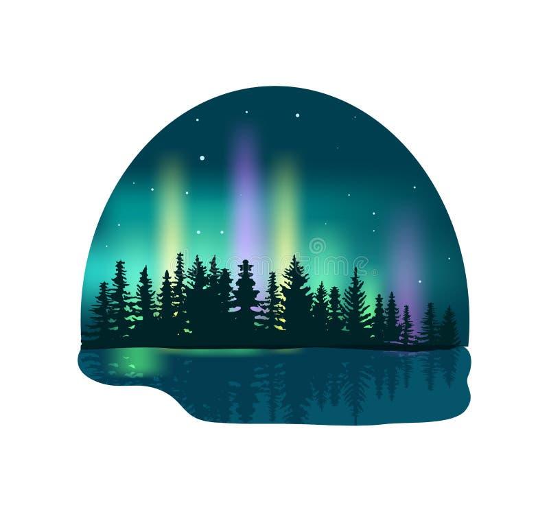 Aurora boreal sobre icono profundo del bosque stock de ilustración