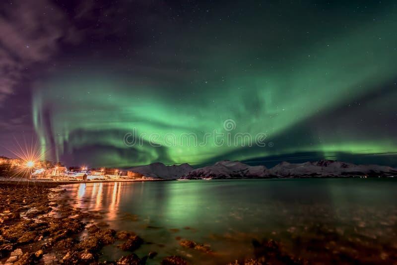 Aurora boreale di Aurora Borealis in Norvegia del nord fotografia stock libera da diritti