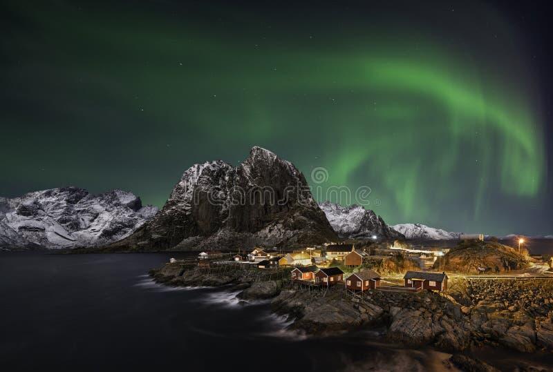 Aurora boreale di Hamnoy fotografie stock