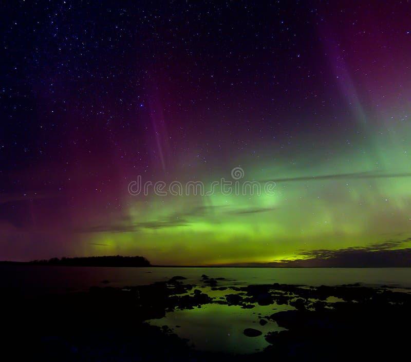 Aurora boreale 03 11 15, il lago Ladoga, Russia fotografia stock libera da diritti