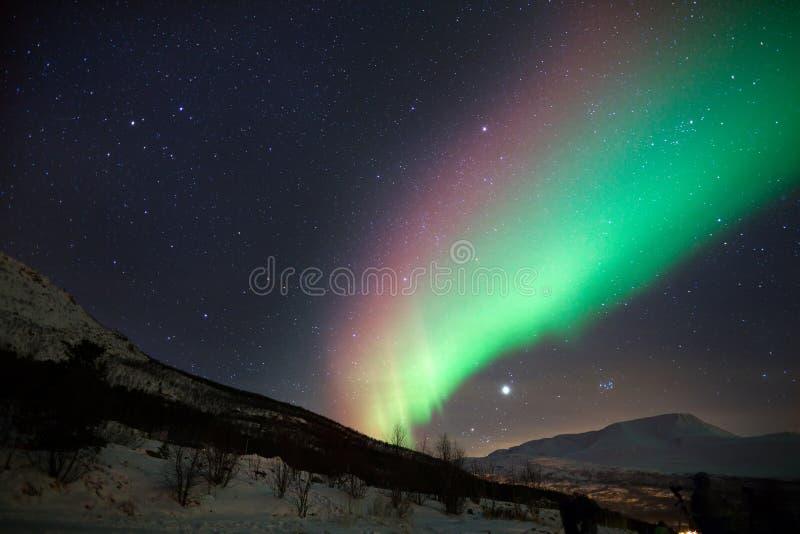Aurora boreale variopinta in Norvegia immagine stock libera da diritti