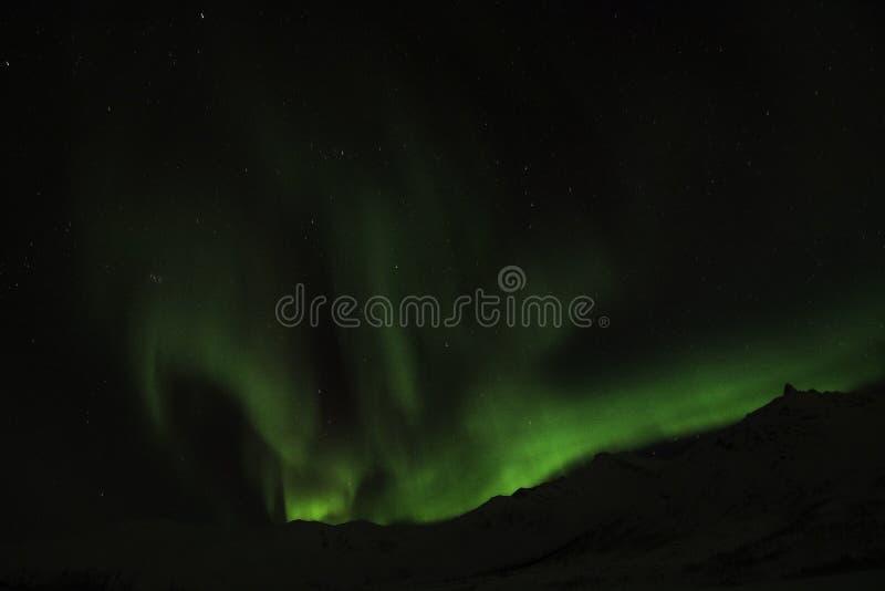 Aurora boreale vicino a Tromso, Norvegia immagini stock libere da diritti