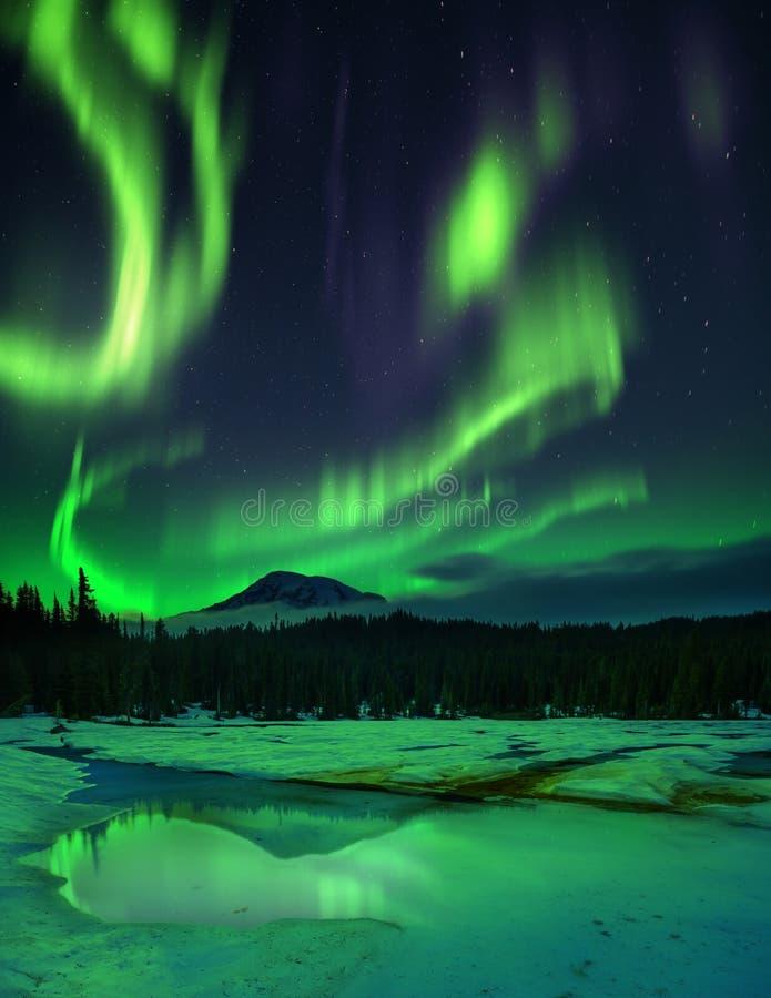 Aurora borealis über gefrorenem See lizenzfreies stockfoto