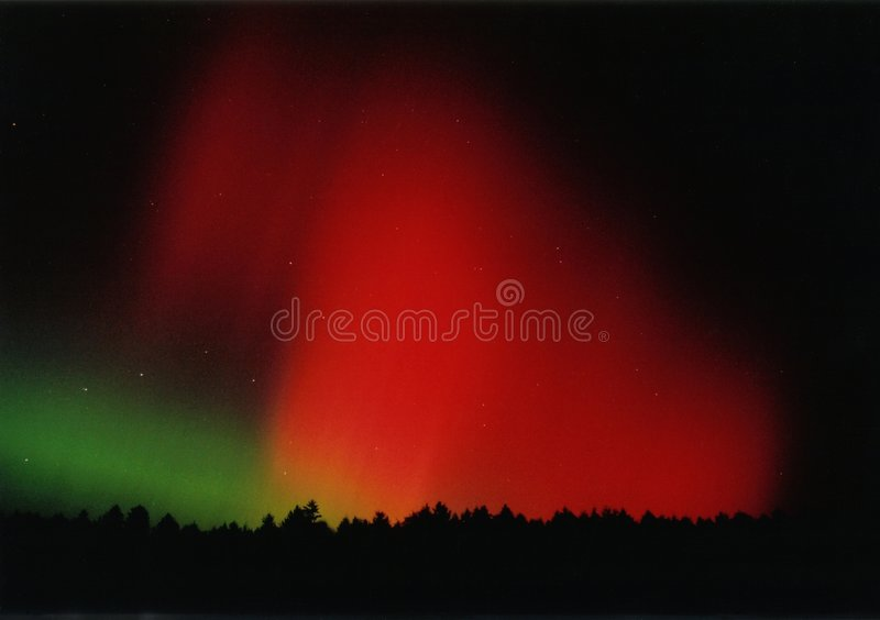 Aurora Borealis. Visible in autumn 2003 over Bayreuth, Bavaria, Germany royalty free stock photo