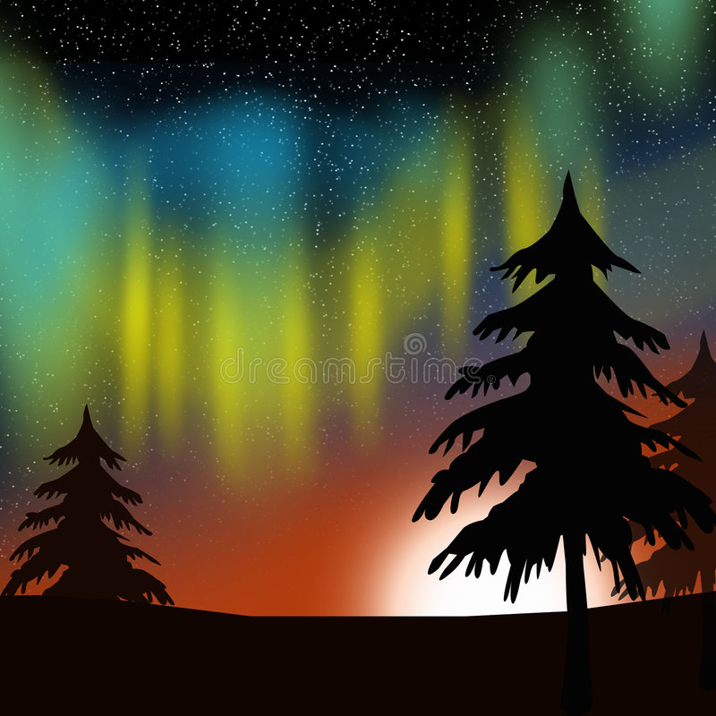 Aurora borealis. Evergreens with a star background and the sun with aurora borealis in bright jewel tones. Dramatic rendition royalty free illustration