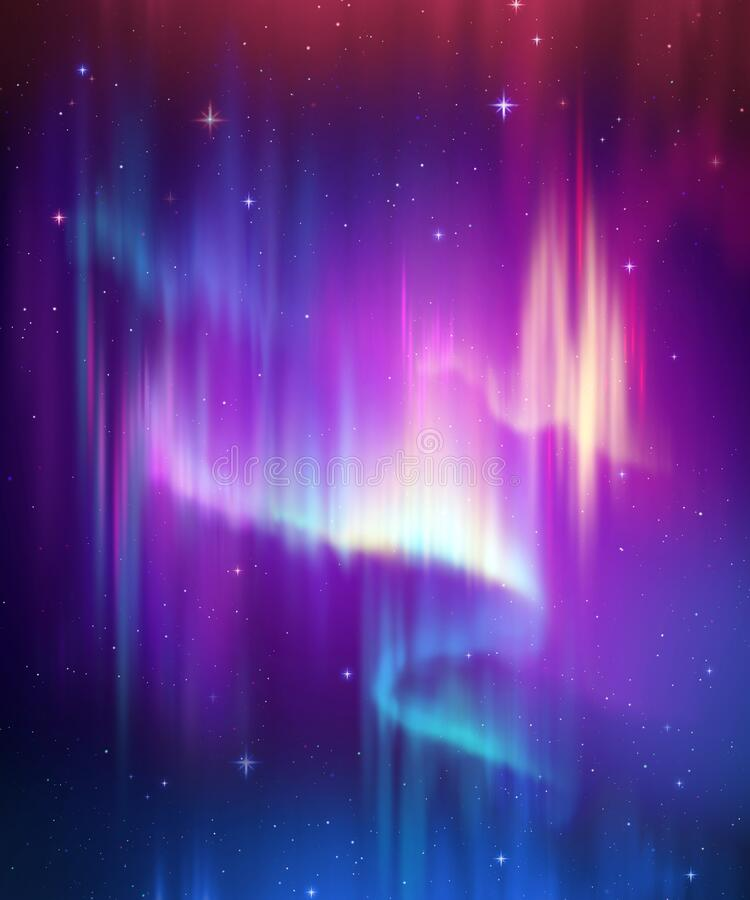 Free Aurora Borealis Abstract Background, Northern Lights In Polar Night Sky Illustration, Natural Phenomenon, Cosmic Miracle, Wonder, Stock Image - 183794411