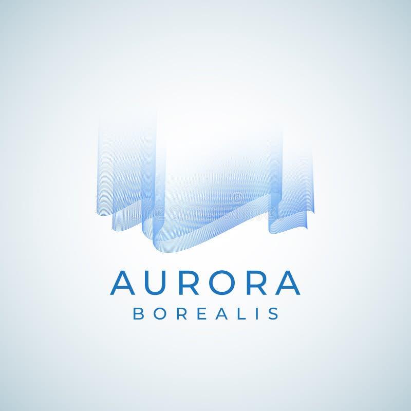 Aurora Borealis Abstract Vector Sign, emblème ou Logo Template Symbole de la meilleure qualité de lumières du nord de qualité dan illustration de vecteur