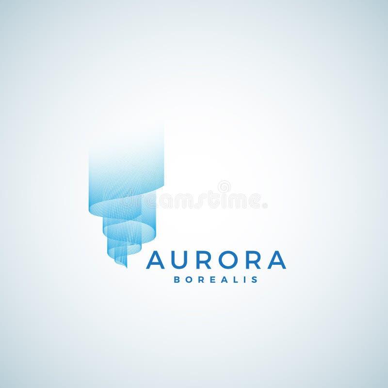 Aurora Borealis Abstract Vector Sign emblem eller Logo Template Högvärdigt kvalitets- symbol vektor illustrationer