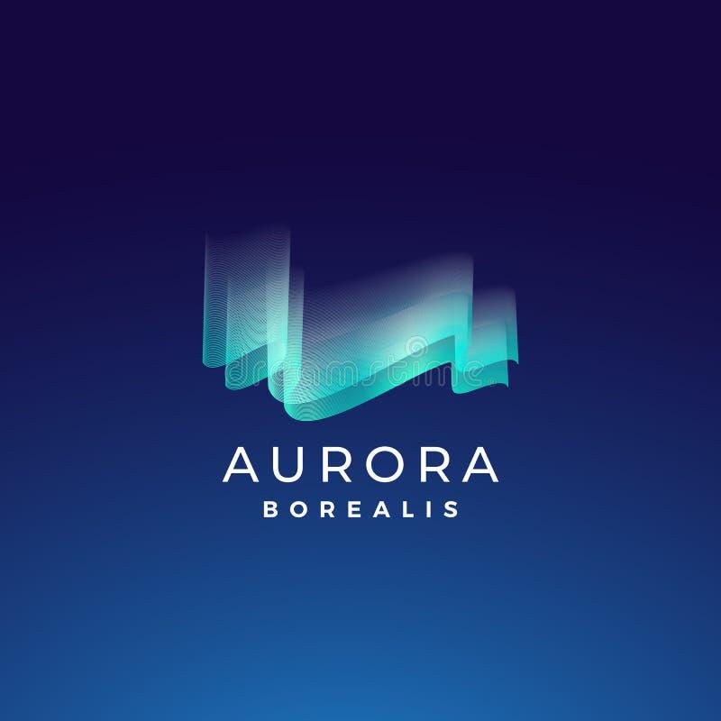 Aurora Borealis Abstract Vector Sign emblem eller Logo Template Högvärdigt kvalitets- symbol för nordliga ljus i blåa färger royaltyfri illustrationer