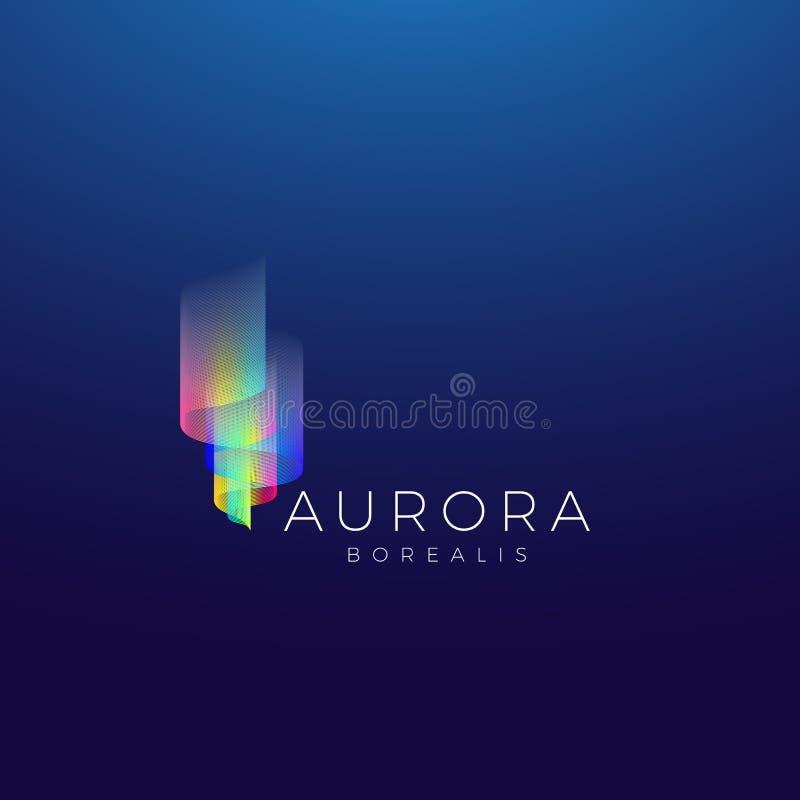 Aurora Borealis Abstract Vector Sign emblem eller Logo Template Högvärdigt kvalitets- symbol på mörk bakgrund royaltyfri illustrationer