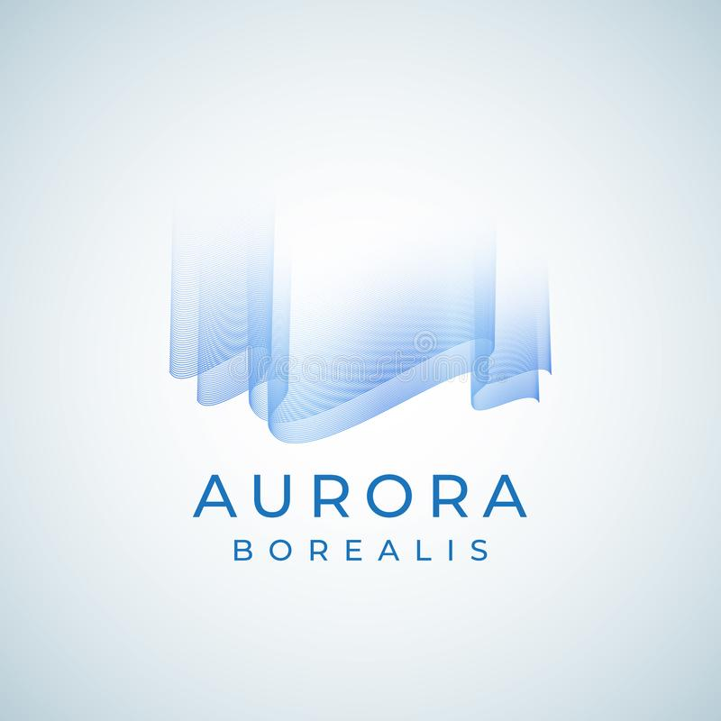Aurora Borealis Abstract Vetora Sign, emblema ou Logo Template Símbolo superior da aurora boreal da qualidade em cores azuis ilustração do vetor