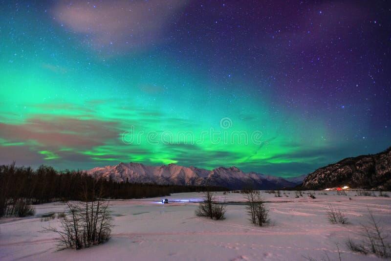 Aurora Borealis in Alaska stock foto's