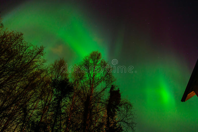 Aurora Borealis in Anchorage. A strong geomagnetic storm causes the aurora to dance over Anchorage, Alaska royalty free stock photo