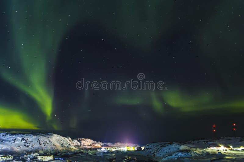 Aurora Borealis, Barents Denny wybrzeże, obrazy stock