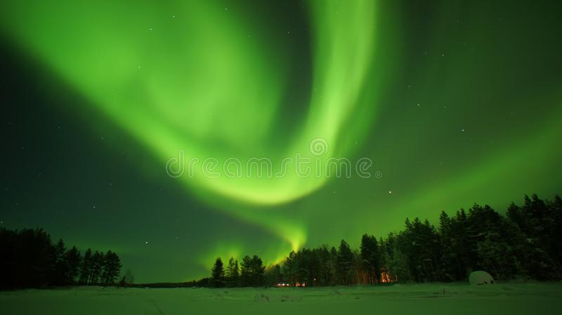 Aurora Borealis Aurora boreal no círculo ártico imagens de stock