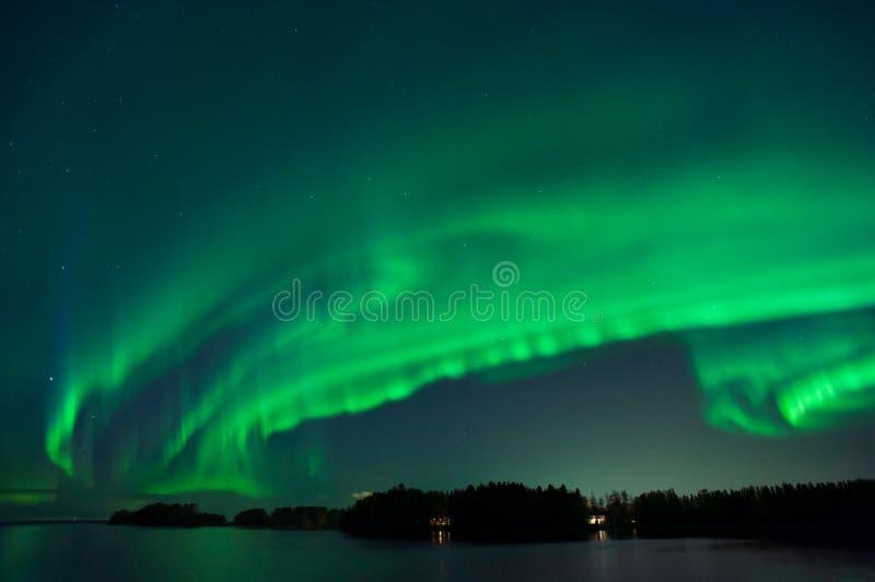 Aurora Borealis, aurora boreale, in Finlandia fotografie stock libere da diritti