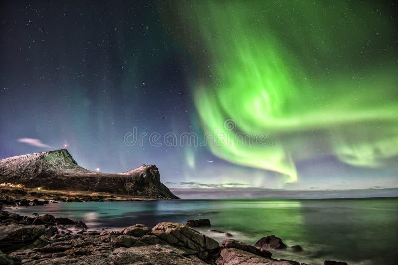 Aurora Borealis chez Myrland photo stock