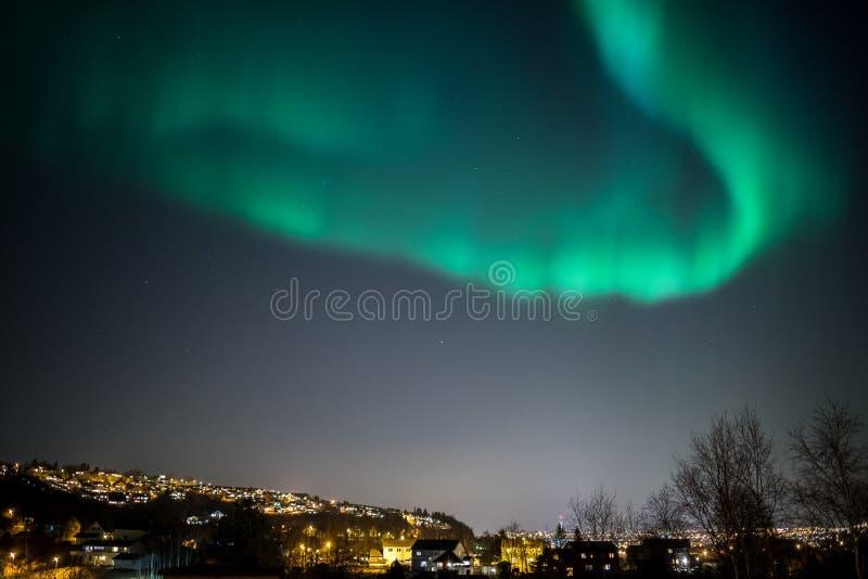 Aurora Borealis Cityscape. True geomagnetic storm in Norway, cityscape of Trondheim stock photos