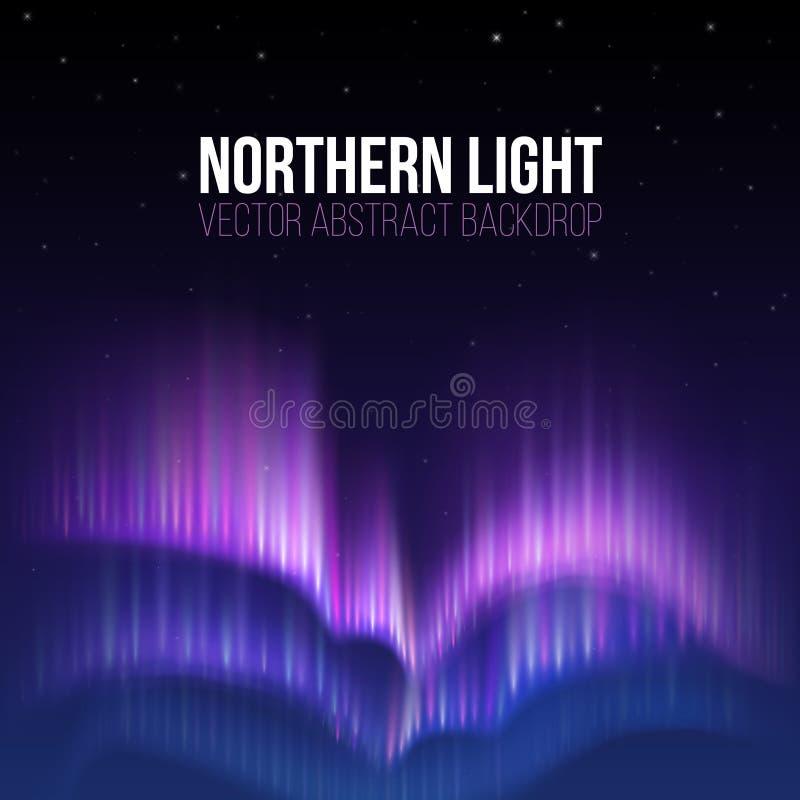Aurora borealis, contexto do sumário do vetor do inverno da luz do norte ilustração stock