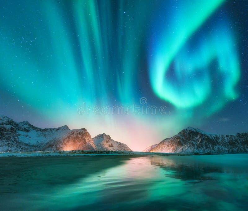 Aurora borealis dans des îles de Lofoten, Norvège photographie stock libre de droits