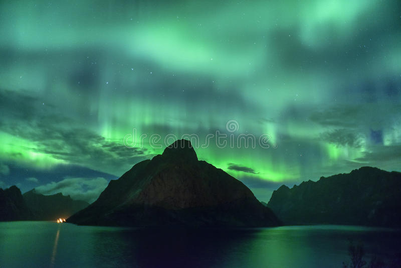 Aurora borealis de la aurora boreal de Lofoten, Noruega imágenes de archivo libres de regalías